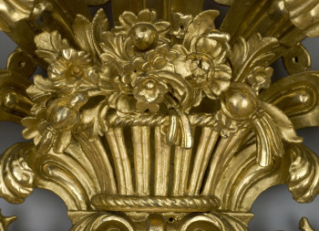 Detail of carved and gilded Governor Hutchinson Mirror after gilding conservation