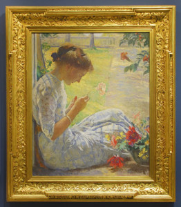 Edmund Tarbell, Mercie cutting flowers, 1912, Currier Museum of Art, in a Foster Brothers frame