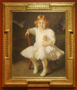 Frank W. Benson, Portrait of Mary Spencer Fuller, 1914, Currier Museum of Art, in a Foster Brothers frame
