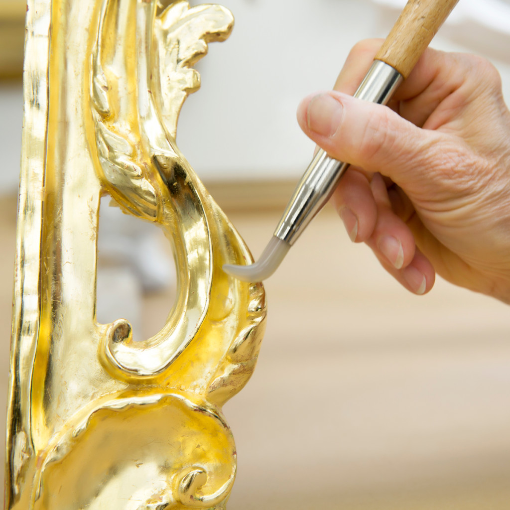 Burnishing Water Gilding on a Table