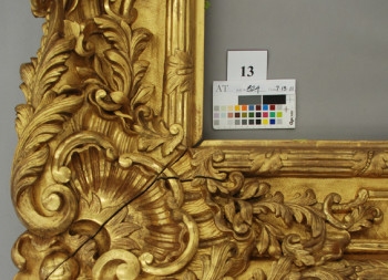 George Peabody Frame – After Gilding Conservation Treatment, corner Detail